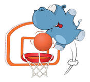 Little hippo basketball player cartoon Royalty Free Stock Image