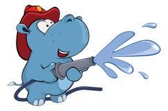 Little hippo. Cartoon. The small  blue hippopotamus works as the fireman Stock Photo