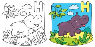 Little hippo coloring book. Alphabet H. Coloring picture or coloring book of little funny hippo running down the road. Alphabet H stock illustration