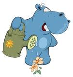 A little hippo-gardener. Cartoon. The cheerful hippopotamus waters flowers vector illustration