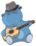 Little hippo, guitarist. Cartoon Stock Images