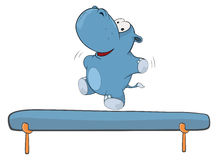 A little hippo-gymnast. Cartoon Royalty Free Stock Photography
