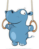 A little hippo performing an Iron Cross. Cartoon Stock Photos