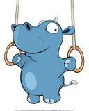 A little hippo performing an Iron Cross. Cartoon Stock Photos