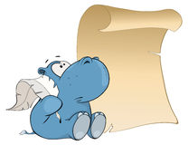 Little hippo-poet Cartoon. Small hippopotamus the poet with a feather and a paper Royalty Free Stock Image
