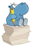 Little hippo-poet Cartoon. Small hippopotamus the poet with a pencil and a paper Stock Image