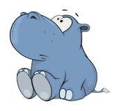 Little hippopotamus. Cartoon Stock Image