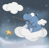 Little hippopotamus and fantastic star. Cartoon Stock Photo