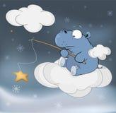 Little hippopotamus and fantastic star. Cartoon Stock Photo