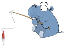 Little hippopotamus a fisherman. Cartoon Royalty Free Stock Photography