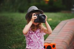 Little hipster girl with big glasses Royalty Free Stock Photos