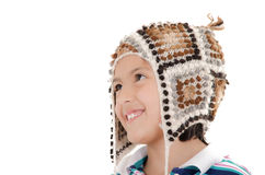 Little hispanic girl with peruvian hat Stock Photography