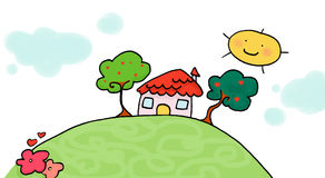 Little home. A little home on a hill. Digital colors Stock Images