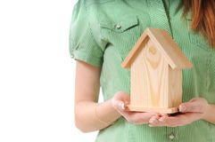 Little home in the hands royalty free stock image