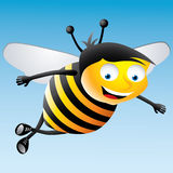 Little Honey Bee - Illustration. Cartoon  illustration of a flying happy little honey bee Stock Images