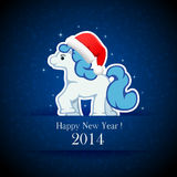 Little horse. On blue grunge background, illustration Stock Photography