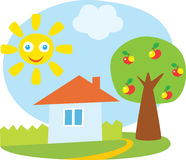 Little house and apple-tree Stock Photos