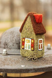 Little house and bicycle. Little toy house and bicycle Stock Images