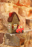 Little house and car stock photography