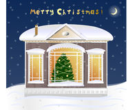 Little house with christmas tree Royalty Free Stock Photo
