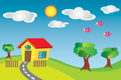 Little House in the Country. A beautiful country scene with road and tree Stock Photography