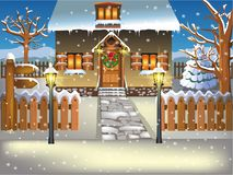 Little house covered by snow in winter season. Vector illustration of a little house covered by snow in winter season Royalty Free Stock Images