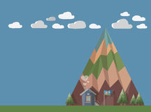 At the end of the world. Little house at the end of the world with chimney smoke in shape of hearts in front of big mountain with trees, green and clouds. All in Royalty Free Stock Images