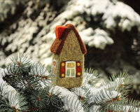 Little house on fir tree. Little house on  fir tree brunches with snow Stock Photography