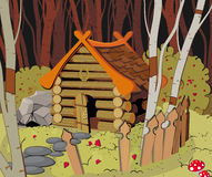 Little House in the Forest. Little wooden House in the Dark Forest Royalty Free Illustration
