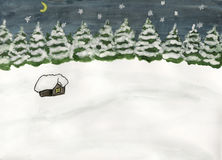 Little house in forest in winter. Hand drawn picture, water coloured painting. Winter landscape with little house in the forest at night Royalty Free Stock Image