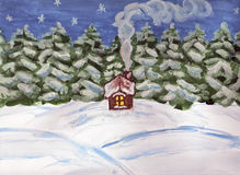Little house in forest in winter. Hand drawn picture, water coloured painting. Winter landscape with little house in the forest Royalty Free Stock Image