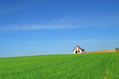 Little house in grass field Royalty Free Stock Images