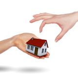 Little House on the hands and the girls Royalty Free Stock Photography