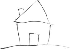 Little House on The Hill. Vector illustration of a house Royalty Free Stock Photos