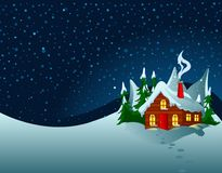 Little House In Snowy Hills Stock Photography