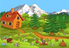 Little house in the middle of the nature with fir trees and flowers all around. And mountains in the background Stock Photography