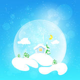 The little house with the moon and fir tree,vector illustration. Christmas design. The little house with the moon and clouds and fir tree in snow globe on a Royalty Free Stock Photography