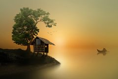 Free Little House On A Dream Land Royalty Free Stock Photography - 150046317