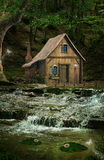 Little house over the waterfalls. In the middle of the forest stock illustration