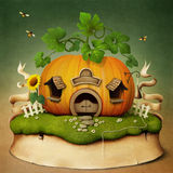 Little House Pumpkin. Poster or illustration with  pumpkin small house. Computer graphics Royalty Free Stock Photo