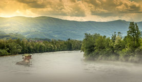 A little house on the rock in the Drina river royalty free stock photos