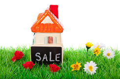 Little house for sale. On a flowery lawn isolated over white stock photo