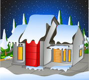 Little house snowing Stock Images