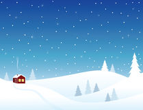 Little house in snowy hills. Cozy winter scene Stock Photo