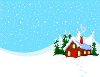 Little house in snowy hills. Pastoral  winter scene Royalty Free Stock Images