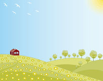 Little house in a spring field. Spring landscape, little house in a green field Royalty Free Stock Photography