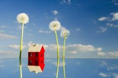 Little house symbol on mirror stock photo