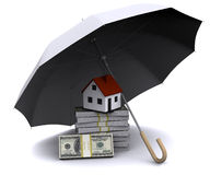 Little house with umbrella Royalty Free Stock Photography