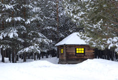 Little house in winter forest Royalty Free Stock Images