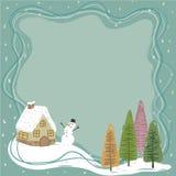 Little House in Winter Frame vector illustration